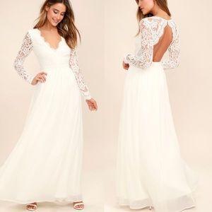 Lulus Awaken My Love White Lace Long sleeve Dress